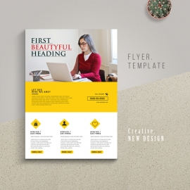 Modern Business Flyer With Yellow Accent