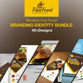 Modern Fast Food Restaurant Identity Stationery Pack