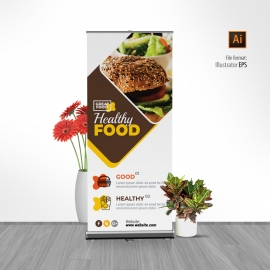 Modern Fast Food Restaurant Rollup Banner