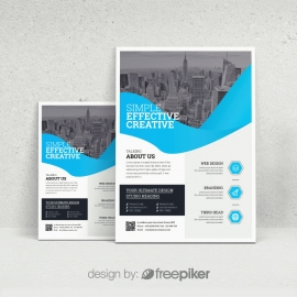 Modern Flyer Business With Abstract Shapes