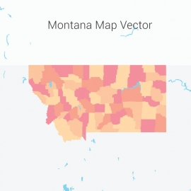 Montana Map Colorful Vector Design