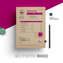 Multipurpose Creative Retro PSD Invoice