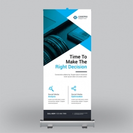 Multipurpose Cyan Roll-Up Banner