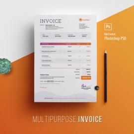 Multipurpose Professional Invoice With Orange Blue