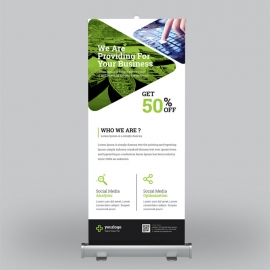 Multipurpose Roll-Up Banner With Green Blue Elements
