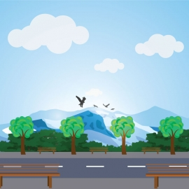Natural Mountain avarest vector desain with a cityscape road