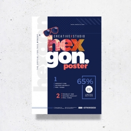 Navy Blue Creative Poster For Corporate Event