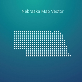 Nebraska Map By Dots And Gradient Background Vector Design