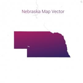 Nebraska Map By Gradient Color Vector Design