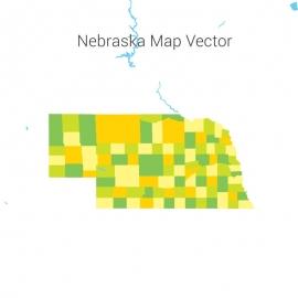 Nebraska Map Colorful Vector Design