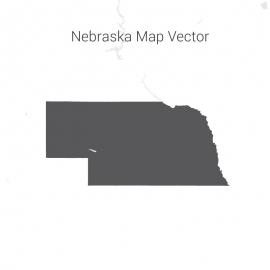 Nebraska Map Dark Vector Design