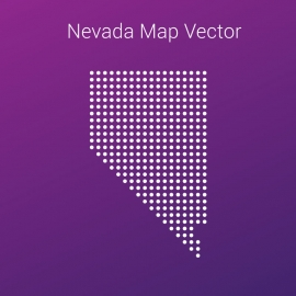 Nevada Map By Dots And Gradient Background Vector Design