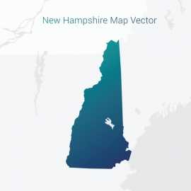 New Hampshire Map By Gradient Color Vector Design