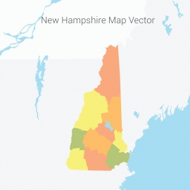 New Hampshire Map Colorful Vector Design