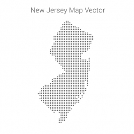 New Jersey Map By Dots Vector Design