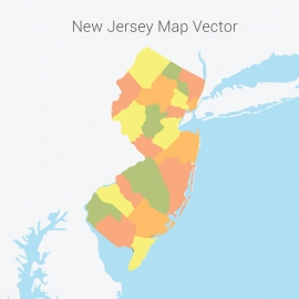 New Jersey Map Colorful Vector Design
