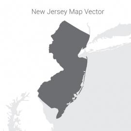 New Jersey Map Dark Vector Design