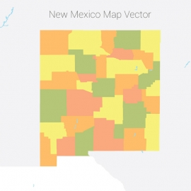 New Mexico Map Colorful Vector Design