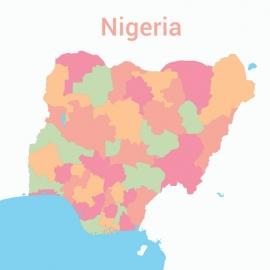 Nigeria Map Colorful Vector Design