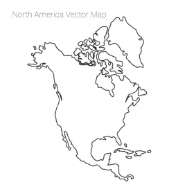 North America Map By Out Line Vector Design