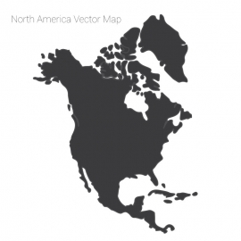 North America Map Dark Vector Design