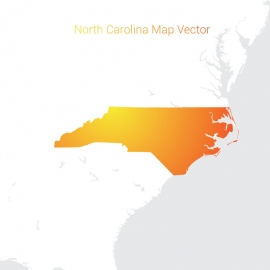 North Carolina Map By Gradient Color Vector Design