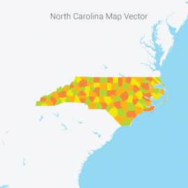 North Carolina Map Colorful Vector Design