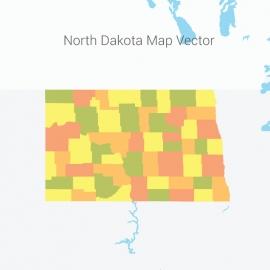 North Dakota Map Colorful Vector Design