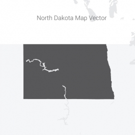North Dakota Map Dark Vector Design
