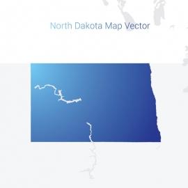 North DakotaMap By Gradient Color Vector Design