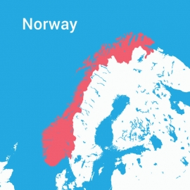 Norway Map Colorful Vector Design