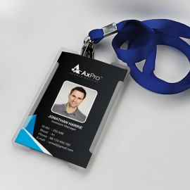Office Identity Card With Blue Black Elements