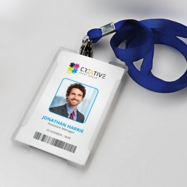 Office Identity Card With Blue Elements
