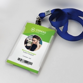Office Identity Card With Green Elements