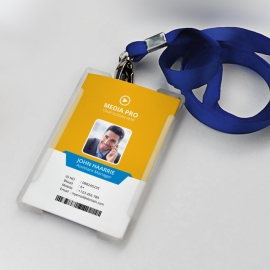 Office Identity Card With Orange Blue Elements