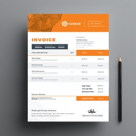 Orange Accent Business Invoice With Abstract Background