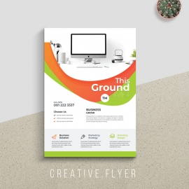 Orange And Green Business Flyer With Abstract