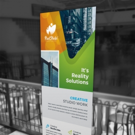 Orange And Green Rollup Banner With Abstract