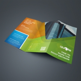 Orange And Green TriFold Brochure With Abstract