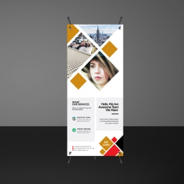 Orange And Red Accent Rollup Banner