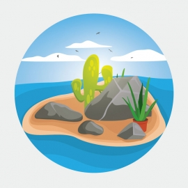 Oshan And Island Vector Desing With Cactus