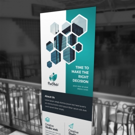 Paste Accent Rollup Banner With Hexagon