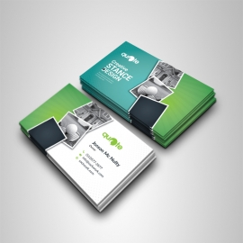 Paste Green Business Card With Rhombus