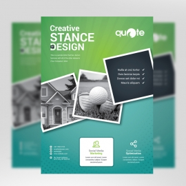 Paste Green Business Flyer With Rhombus