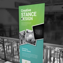 Paste Green Rollup Banner With Rhombus