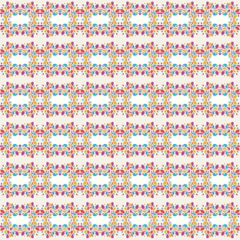 Pattern With Squares And Floral Shapes
