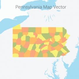 Pennsylvania Map Colorful Vector Design