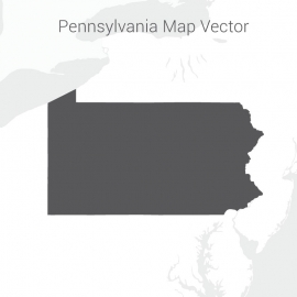 Pennsylvania Map Dark Vector Design