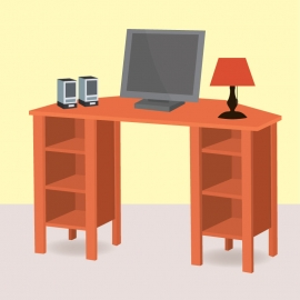 Personal Computer Table Vector For Free Download