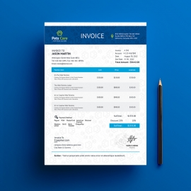 Pets Care Very Clean Invoice